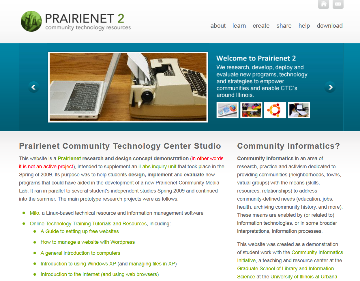 Prairienet 2: Community Technology Resources